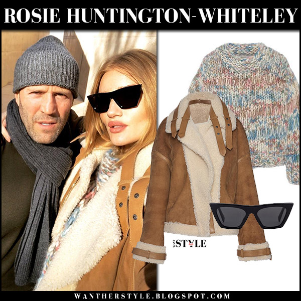 Rosie Huntington-Whiteley with Jason in camel shearling jacket arje model winter style december 20