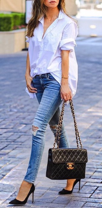 casual style obsession: shirt + rips + heels + bag