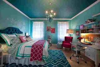 warna aqua kamar tidur anak perempuan