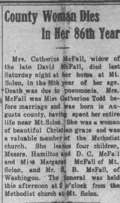 Staunton Daily Leader Feb 3 1908, Country Woman Dies in her 86th year