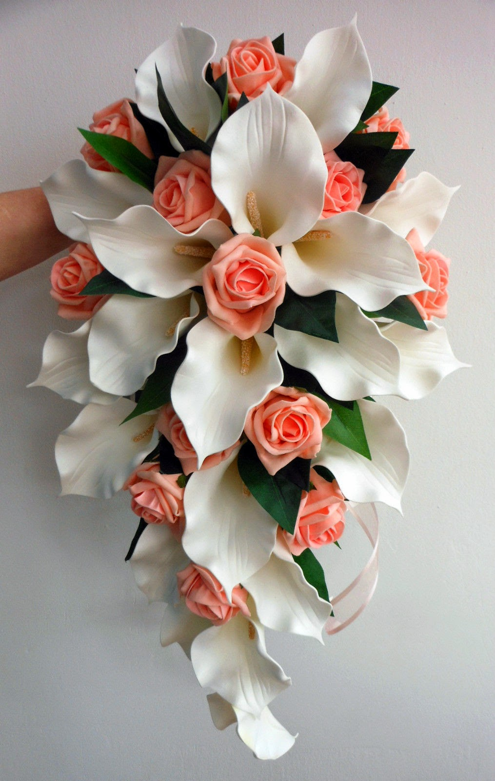 WEDDING BOUQUET SET, REAL TOUCH PINK LILY, IVORY ROSES | eBay |Lily Bridal Bouquets