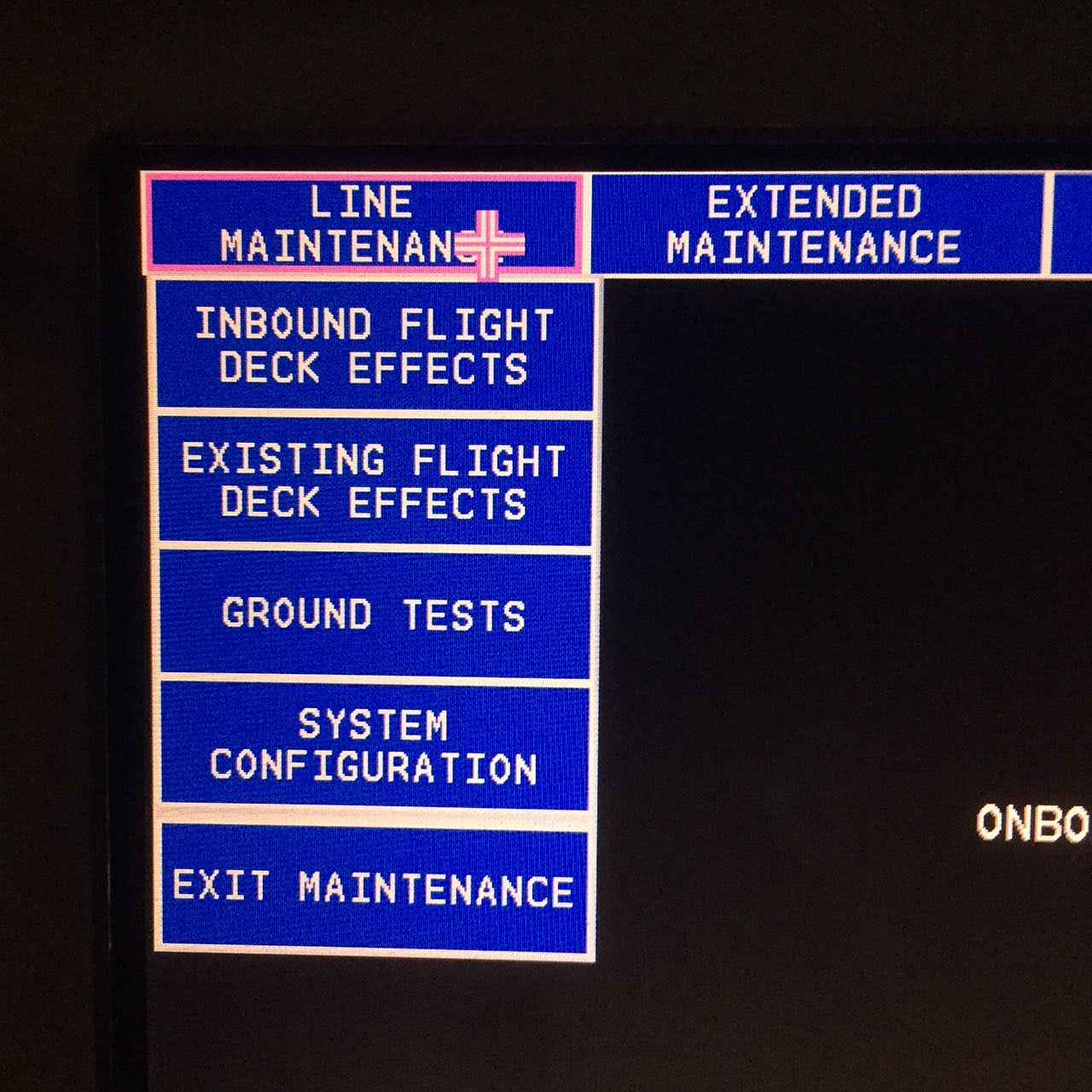 MAT MENU B777 MAINTENANCE ACCESS TERMINAL