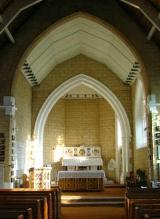 Interior of Chapel at St. Mary's Roman Catholic Cemetery in London.