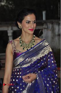 Model Shilpa Reddy Stills in Purple Silk Saree at Gudi Sambaralu 2017 Sri Ramachandra Swami Temple  0051.JPG