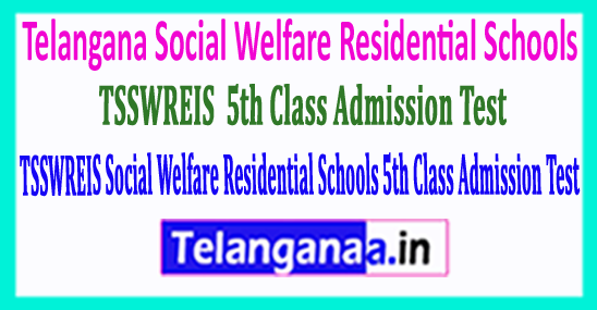 TSSWREIS Social Welfare Residential Schools 2018 5th Class Admission Test