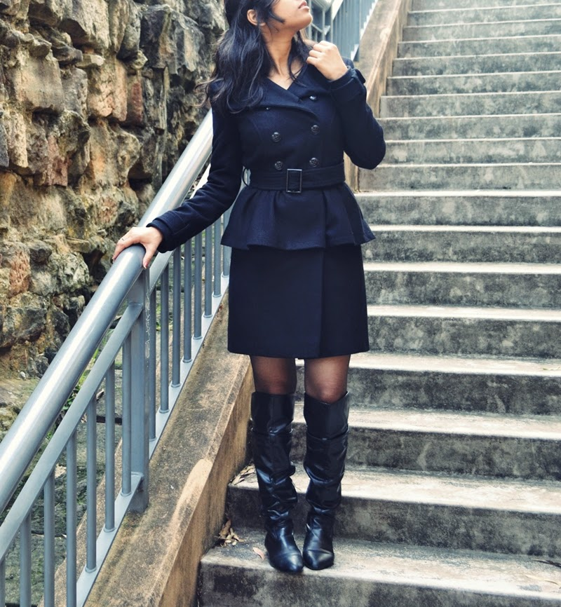 coat, peplum, over the knee boots, leather boots