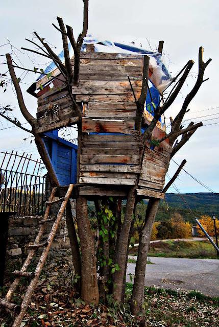 Cabaña colgada en un árbol