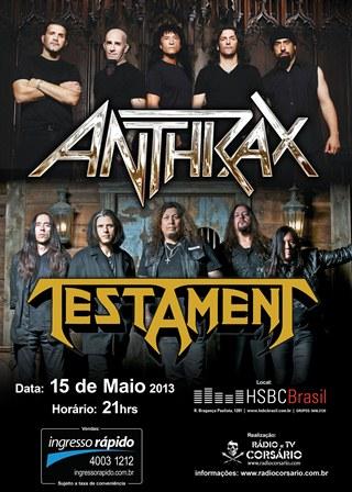 Anthrax e Testament em São Paulo