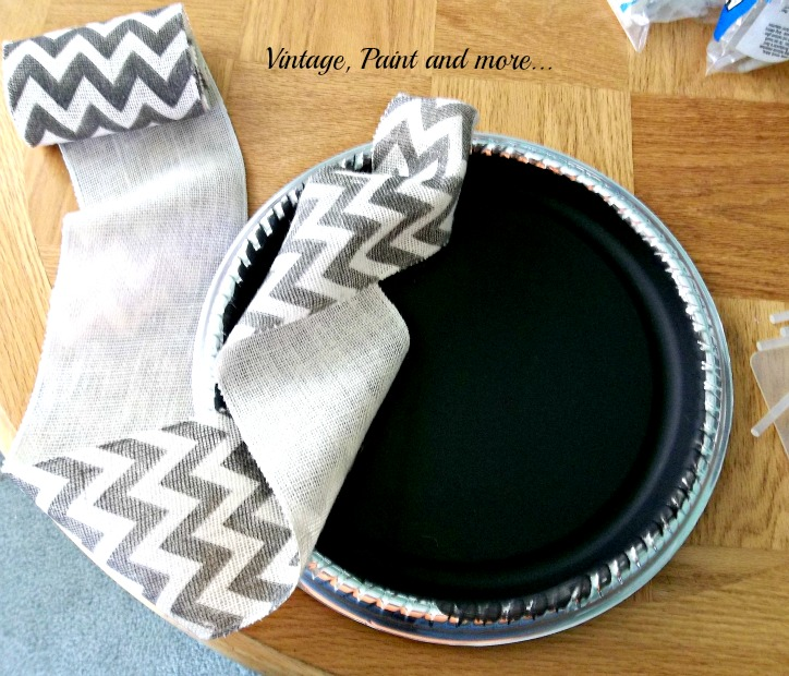 Vintage, Paint and more.. wreath made from dollar store tray and chevron burlap ribbon