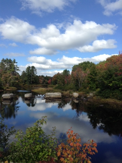 Fall colours on Little Bonnechere River, from bridge on Turner's Road. Near Bonnechere, Ontario