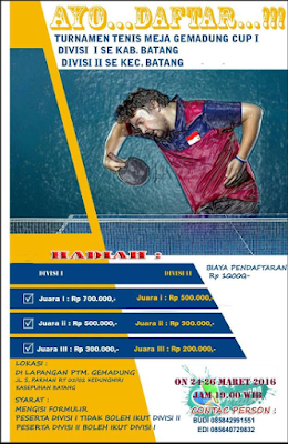 EVENT: Batang | 24-26 Maret 2016 | Turnamen Tenis Meja Gemendung Cup 1