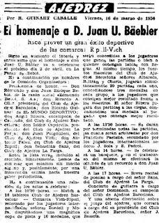 Nota de prensa sobre el homenaje a Juan U. Bäbler Martí