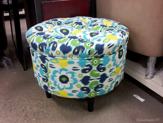 Tufted footstool on blue ikat pattern