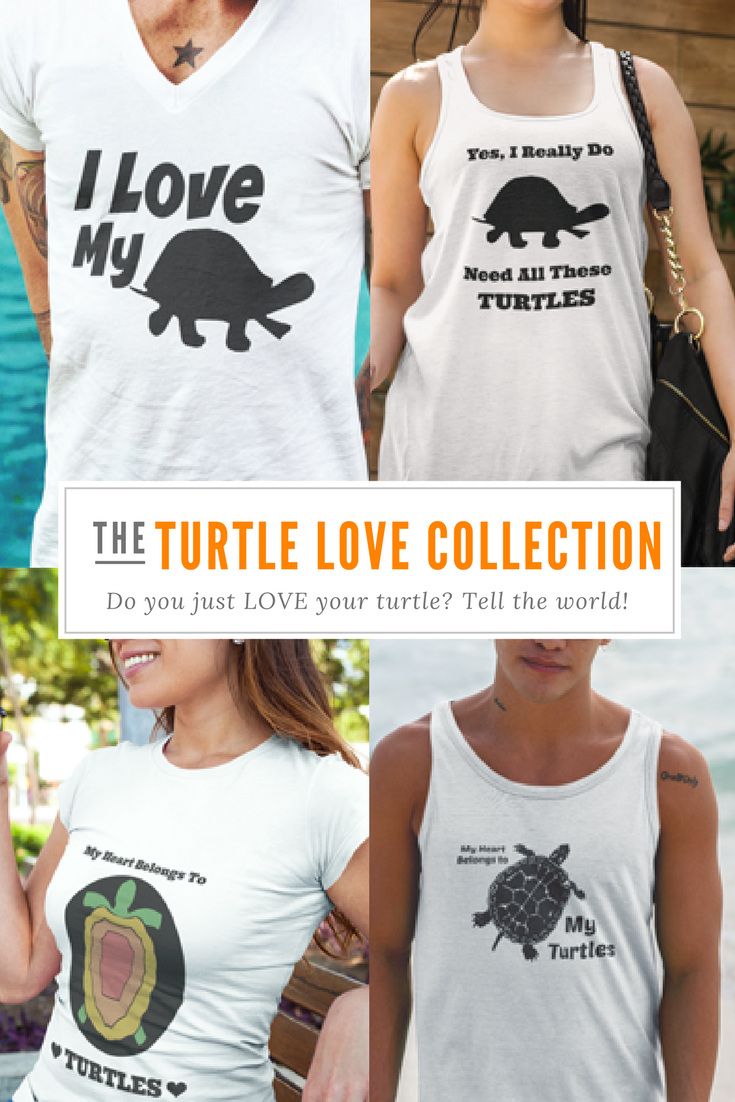 "Crazy About Your Pet Turtle? Tell The World All About It With ""The Turtle Love Collection"" Of Designer Pet T Shirts!"