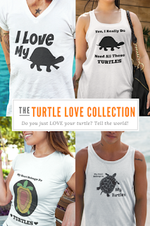 """Crazy About Your Pet Turtle? Tell The World All About It With """"The Turtle Love Collection"""" Of Designer Pet T Shirts!"""