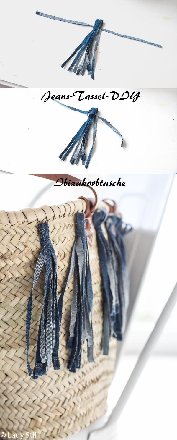 Anleitung in Bildform für Jeans-Tassel, DIY Verschönerung einer Ibizakorbtasche
