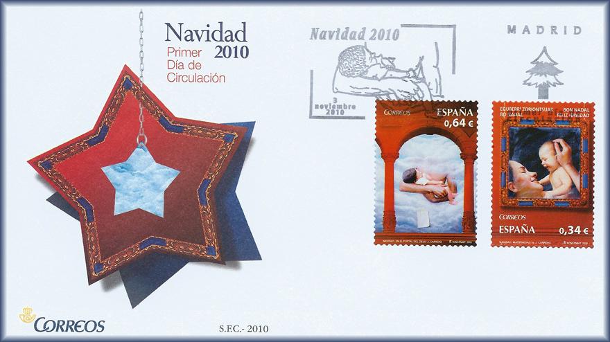 Sobre de Navidad 2010 con los sellos Maternidad II y En el portal del cielo de JCarrero