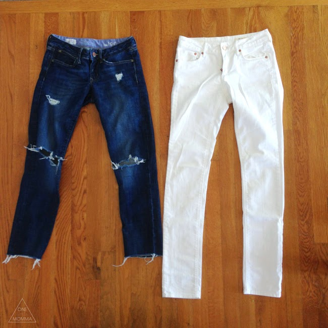 How to distress white denim- easy tutorial for modest distressed jeans