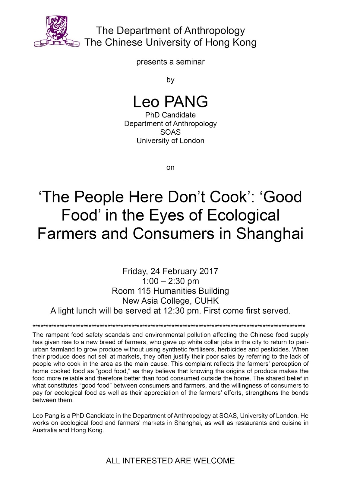 Anthropology department upcoming seminar the people for Anthropology of food and cuisine