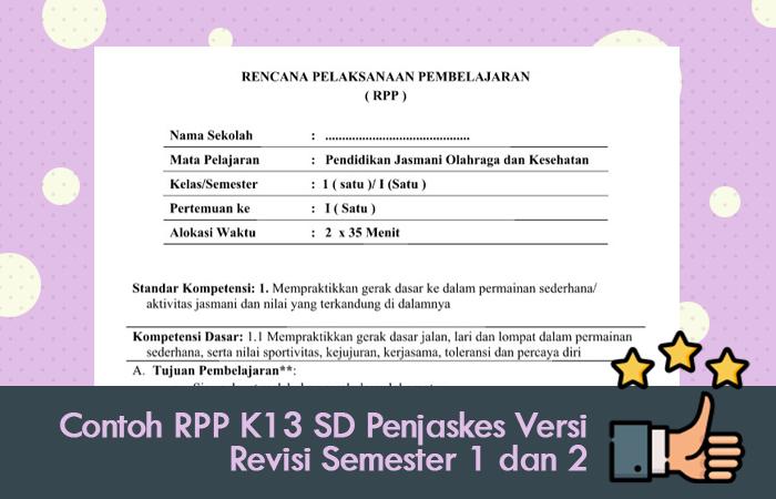 Contoh RPP K13 SD Penjaskes Versi Revisi Semester 1 dan 2