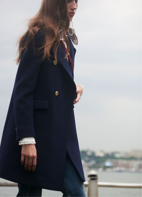 navy coat and jeans basic