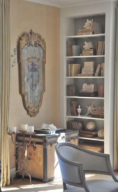 Built in bookshelves in farmhouse style cottage beach house of Brooke Giannetti