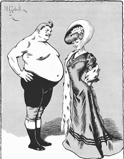 a Henry Gerbault cartoon of woman admiring a man's big belly