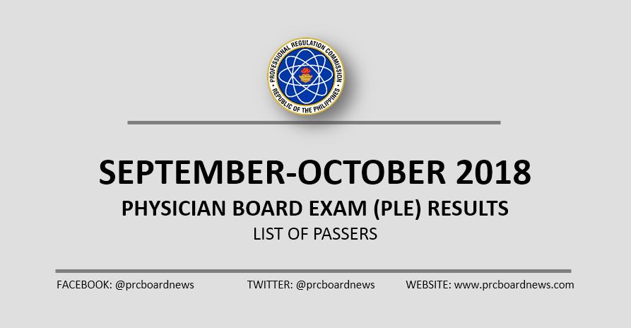 RESULT: September - October 2018 Physician board exam PLE list of passers