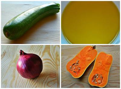 Pieczone warzywa - dynia, cukinia i cebula