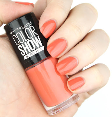 maybelline colour show 30 seconds nail polish 342 Coral Craze review swatch swatches