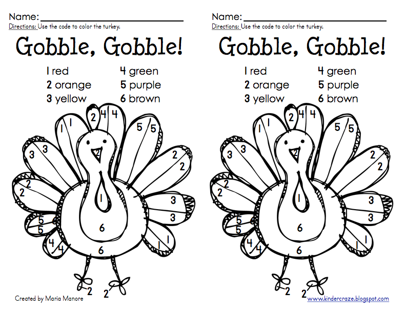 Classroom Freebies Too: Color by Number Turkey