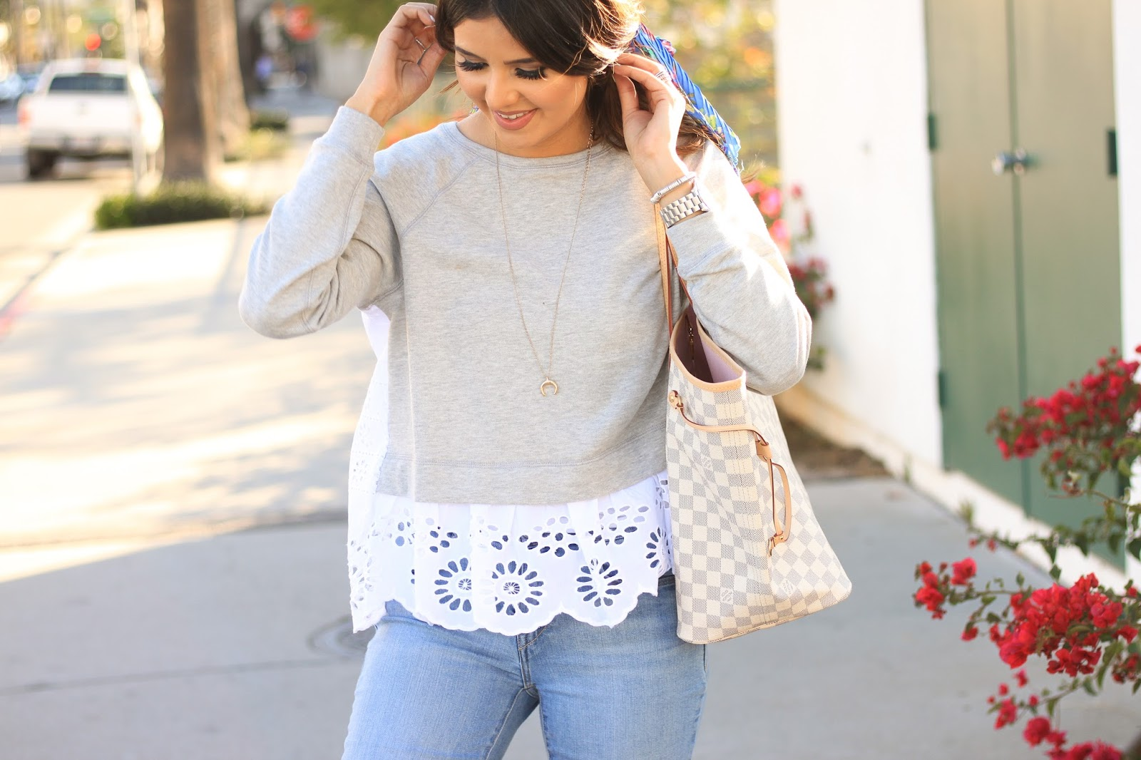 Eyeylet Sweatshirt with Louis Vuitton Neverfull GM