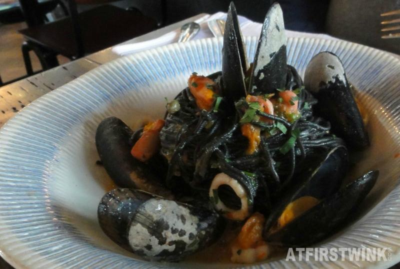 Jamie's Italian Markthal squid mussels spaghetti nero close up