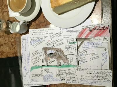 Vokabelzettel mit kombinierter Zeichnung: Kuh, Weide, Stall ...