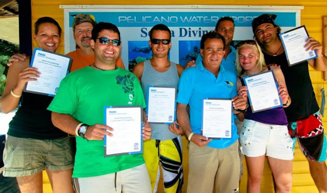 Photo of Ellis upon becoming an OSWI (Open Water Scuba Diving Instructor)