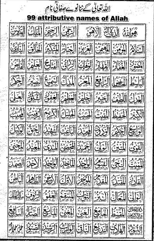 Islamic wallpaper: 99 names of allah