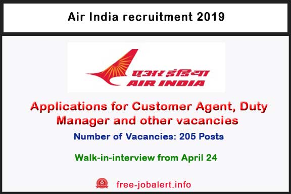 Air India Recruitment 2019: Invites Applications for 205 Customer Agent, Duty Manager and other vacancies