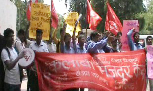 labour-agitation-at-mini-secretariat-faridabad