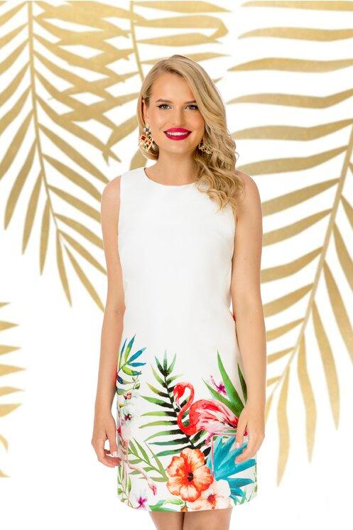 Rochie Pretty Girl alba de vara cu imprimeu estival cu flori