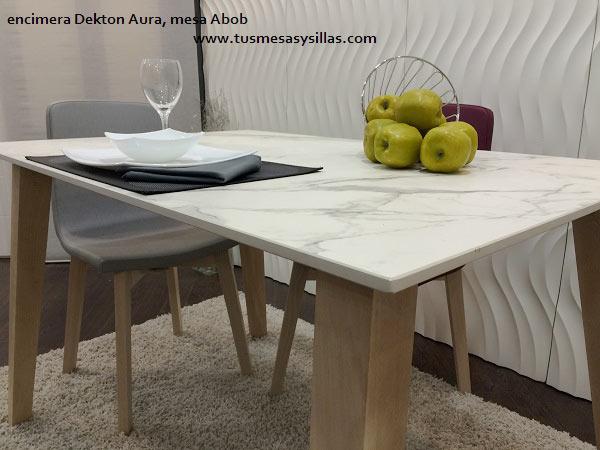 Mesa fija adana de cocina y comedor de estilo nordico con for Mesa encimera cocina