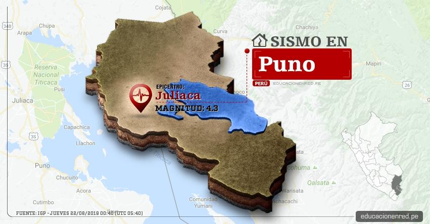 Temblor en Puno de Magnitud 4.3 (Hoy Jueves 22 Agosto 2019) Sismo - Epicentro - Juliaca - San Román - IGP - www.igp.gob.pe