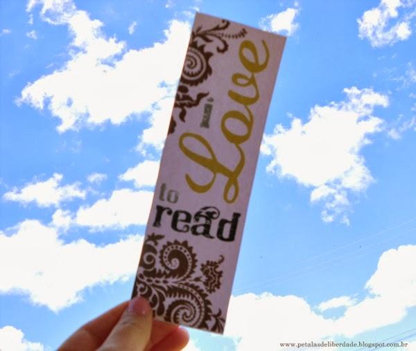 I love to read, marcador de páginas, céu azul, eu amo ler