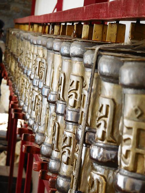 Prayer wheels at Kalpa temple