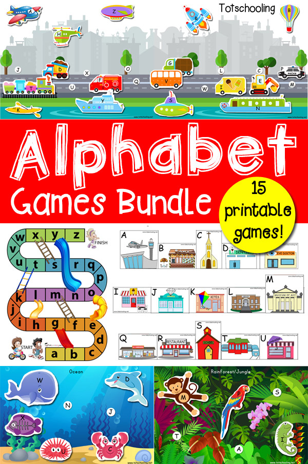 Bundle of 15 creative alphabet games, including matching, sorting, card and board games featuring both uppercase and lowercase letters. Perfect for toddlers and preschoolers learning and practicing the alphabet!