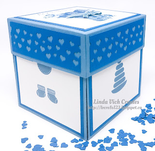 Linda Vich Creates: Explosion Box For Baby. A variety of baby stamp sets, both retired and new, were used to create this lovely project for a new baby boy!
