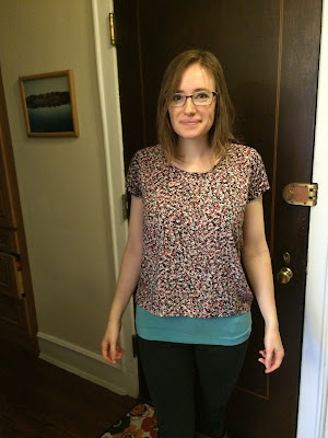 Grainline Scout Tee, modelled on me, front view, in a ditsy rayon challis