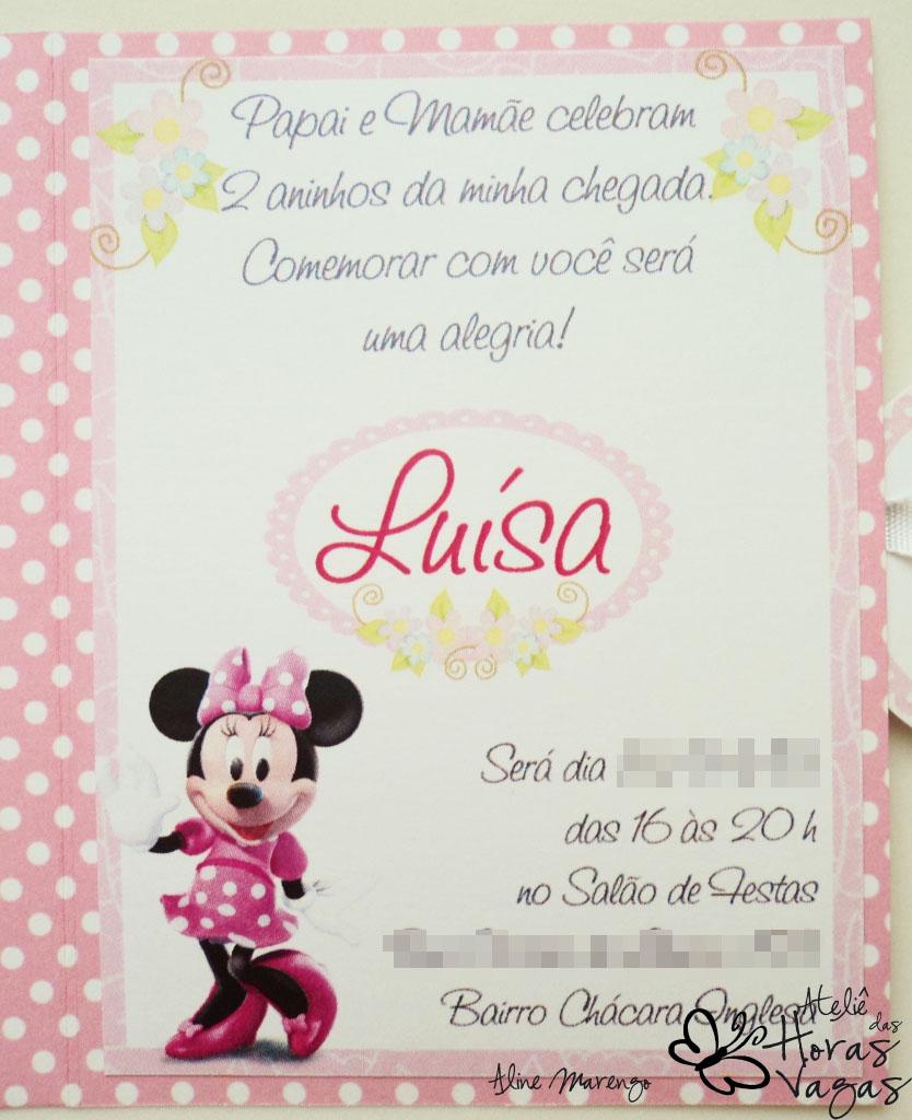 Ateliê Das Horas Vagas Aline Barbosa Convite Minnie Mouse Poá Rosa