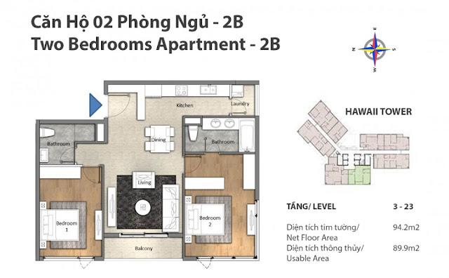 mặt bằng căn hộ 2 phòng ngủ Đảo Kim Cương