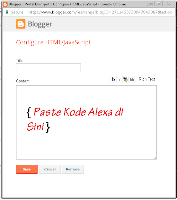 Memasang Widget Alexa Rank di Blog 2017