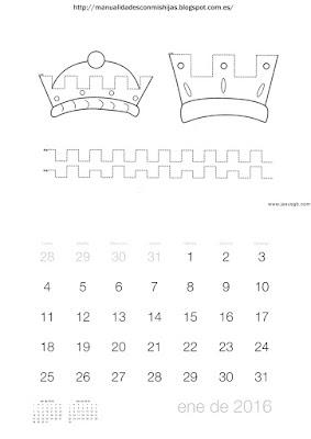 Calendario 2016 grafomotricidad enero